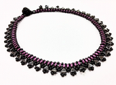 Egyptian Collar - Beadwork Necklace Kit with Kheops Par Puca and SuperDuo Beads (Hematite/Burgundy/Black)